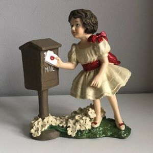 Valentine Figurine Girl With Mailbox
